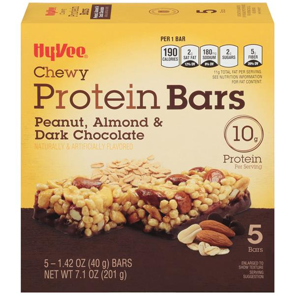 Hy-Vee Chewy Protein Bars Peanut, Almond, & Dark Chocolate 5-1.42 oz Bars