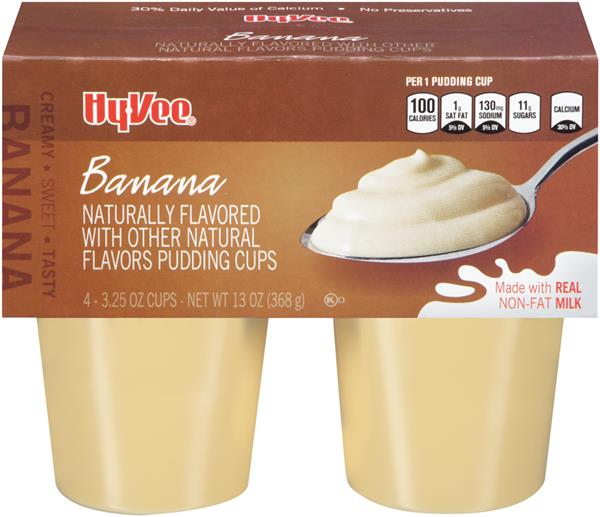 Hy-Vee Banana Pudding 4-3.25 oz Cups