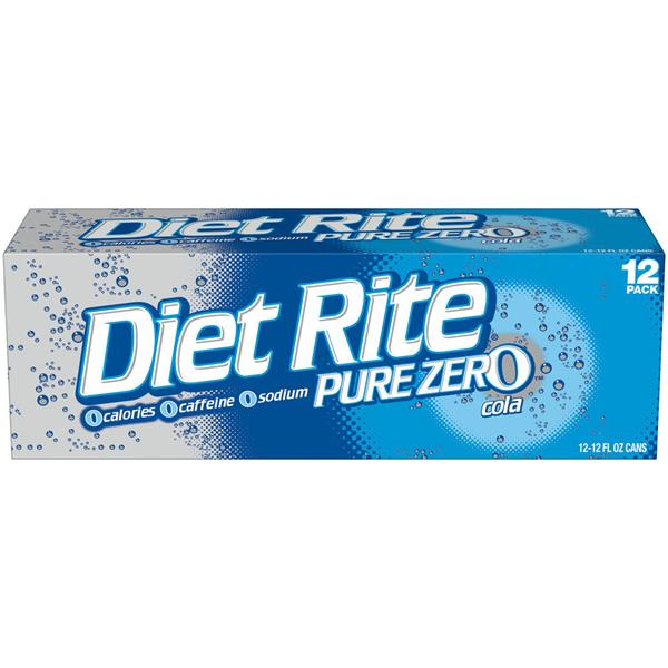 Diet Rite Pure Zero Cola 12 Pack
