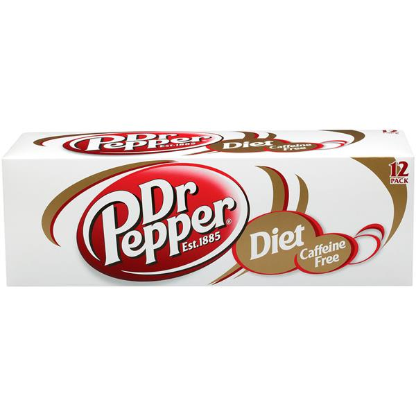 Diet Dr Pepper Caffeine Free Soda 12 Pack