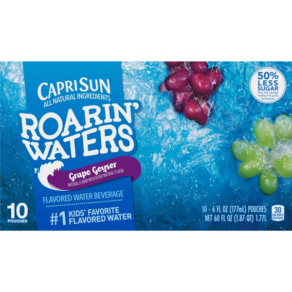 Capri Sun Roarin' Waters Grape Flavored Water Beverage 10Pk