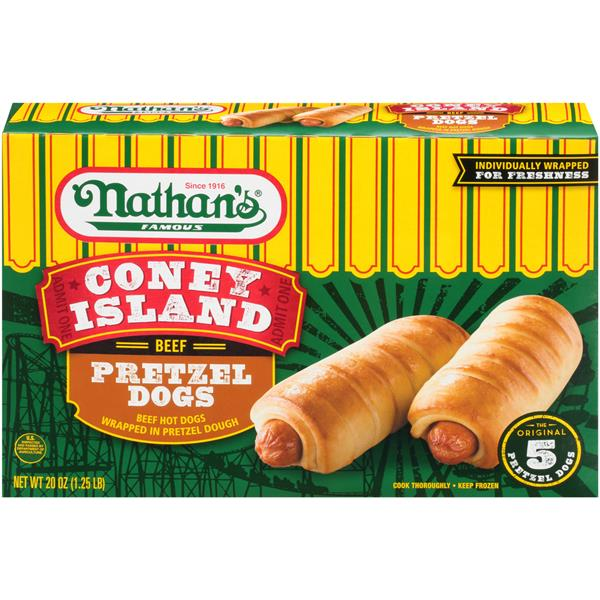 Nathan's Famous Coney Island Beef Pretzel Hot Dogs 20 oz. Box