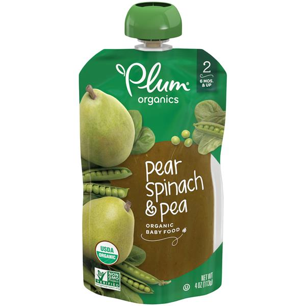 Plum Organics Stage 2 Spinach, Peas & Pear