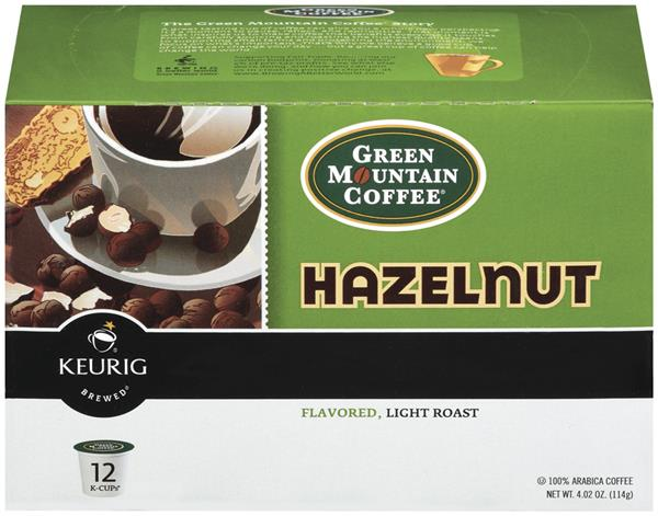 Green Mountain Coffee Hazelnut Flavored Light Roast Coffee K-Cups 12-0.33 oz ea