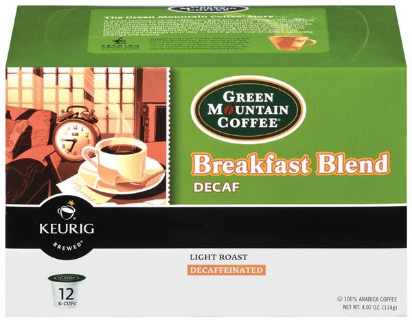 Green Mountain Coffee Breakfast Blend Decaf Coffee K-Cups 12-0.31 oz ea