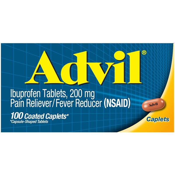 Advil Pain Reliever/Fever Reducer (Ibuprofen) 200 mg Caplets