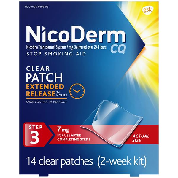 NicoDerm CQ Clear 2-Week Step 3 7mg Stop Smoking Aid Patches