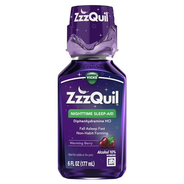 Vicks ZzzQuil Nighttime Sleep Aid Liquid, Warming Berry Flavor, Fall Asleep Fast and Wake Refreshed,