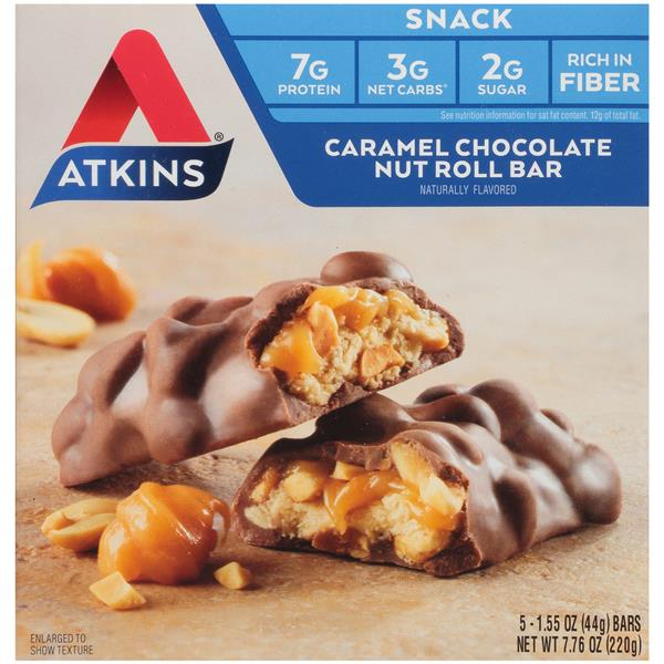 Atkins Caramel Chocolate Nut Roll Snack Bars 5-1.55 oz. Bars