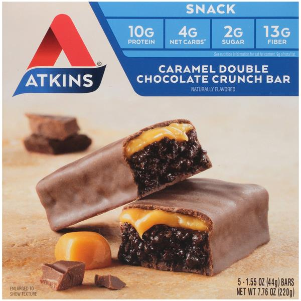 Atkins Caramel Double Chocolate Crunch Snack Bars 5-1.55 oz. Bars