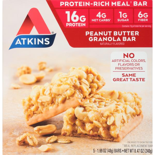 Atkins Peanut Butter Granola Protein-Rich Meal Bars 5-1.69 oz. Bars