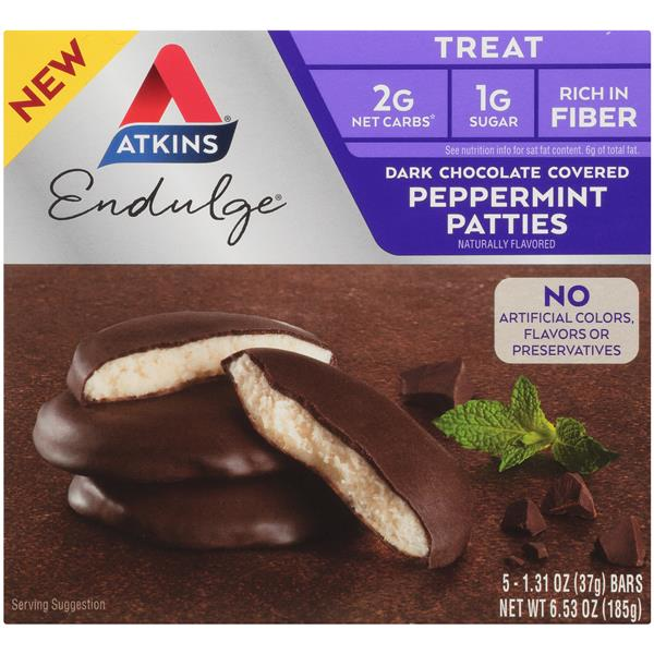 Atkins Endulge Dark Chocolate Covered Peppermint Patties 5-1.31 oz Bars